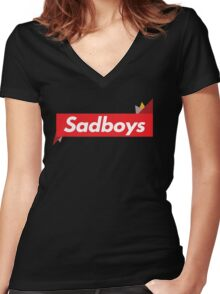 Sadboys Text Women's Fitted V-Neck T-Shirt