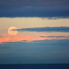 Moon setting over Port Phillip bay by Ian Stevenson