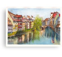 River Pegnitz in the Old Town of Nuremberg, Germany Canvas Print