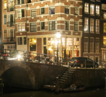 Amsterdam The Netherlands Night scene on the Amsterdam canals. Corner Prinsengracht and Brouwersgracht. Sticker