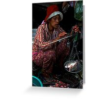 The Market's Fishes Lady - Phnom Penh, Cambodia. Greeting Card