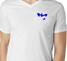 Blue/White Bird Hand Shadow Mens V-Neck T-Shirt