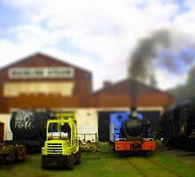 tin toy railyard by dennis william gaylor