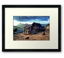 Mountain village and go-kart Framed Print
