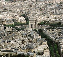 View of L'Arc de Triomphe from the Eiffel Tower, Paris, France by claudiarose99
