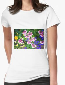 flowering garden. Red, white and pink blooming flowers Womens Fitted T-Shirt