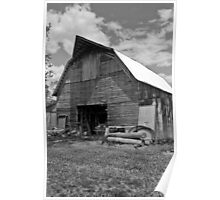 Barn Jeep BW Poster