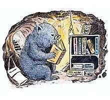 Mr Wombat Reads Photographic Print