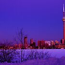 Toronto Morning Moonset by Baye Hunter