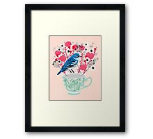 Bird on a Teacup by Andrea Lauren  Framed Print