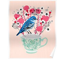 Bird on a Teacup by Andrea Lauren  Poster