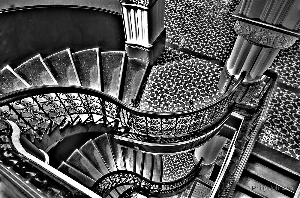 Vertigo - The Grand Stair Case (Monochrome)- QVB , Sydney - The HDR Experience by Philip Johnson