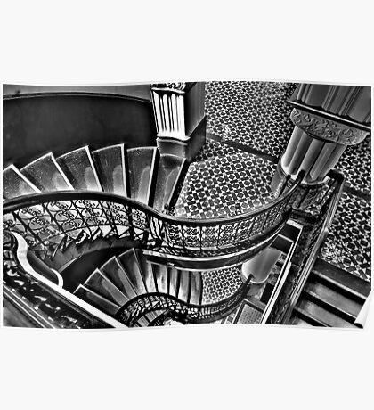 Vertigo - The Grand Stair Case (Monochrome)- QVB , Sydney - The HDR Experience Poster