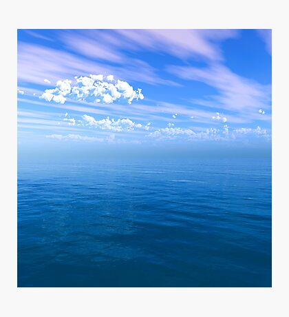 Blue Ocean Puffy Clouded Blue Sky Photographic Print