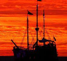 sunset with galleon . puesta del sol con galeón by Bernhard Matejka