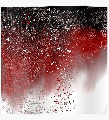 Abstract Art in Red, Black, and White Poster