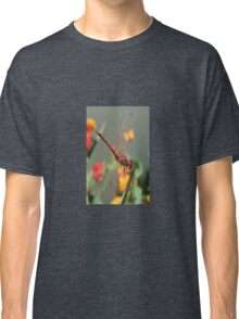 Red Skimmer or Firecracker Dragonfly With Lantana Background Classic T-Shirt