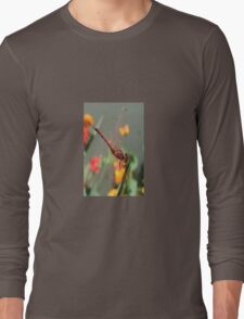 Red Skimmer or Firecracker Dragonfly With Lantana Background T-Shirt