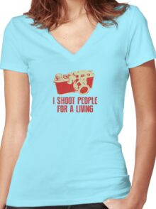 I Shoot People For A Living Camera T shirt Women's Fitted V-Neck T-Shirt