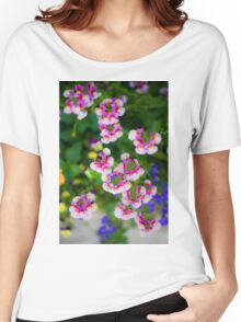 flowering garden. Red, white and pink blooming flowers Women's Relaxed Fit T-Shirt
