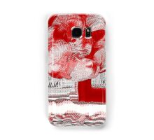 Unique Woven Floral Design in Red and White Samsung Galaxy Case/Skin