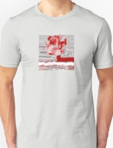 Unique Woven Floral Design in Red and White T-Shirt