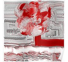 Unique Woven Floral Design in Red and White Poster