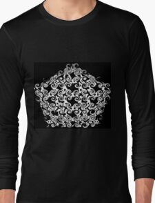 Curlicues Pentagon Black and White Pattern Long Sleeve T-Shirt