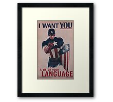 Age Of Ultron - Watch Your Language! Framed Print