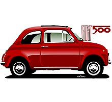 Classic Fiat 500F red Photographic Print