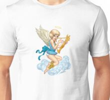 Little Angel with Halo and Golden Harp by Al Rio Unisex T-Shirt