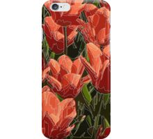 red tulips white lines iPhone Case/Skin