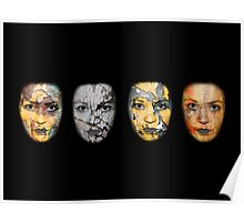 Four Rust Faces Poster