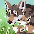 Red Wolf Family by Growly