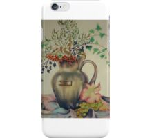 Autumn fruits and leaves in a glazed jug iPhone Case/Skin