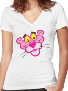 the pink panther Women's Fitted V-Neck T-Shirt