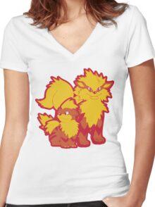 Arcanine Design Women's Fitted V-Neck T-Shirt