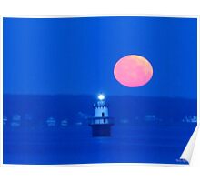 Lighthouse Moon Poster