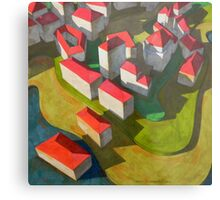 virtual model with red houses Metal Print