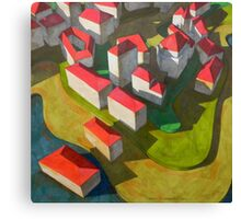 virtual model with red houses Canvas Print