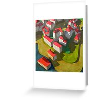 virtual model with red houses Greeting Card