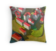virtual model with red houses Throw Pillow