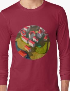 virtual model with red houses Long Sleeve T-Shirt