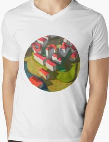 virtual model with red houses Mens V-Neck T-Shirt