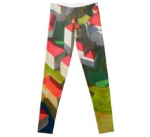 virtual model with red houses Leggings