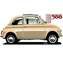 Classic Fiat 500F beige Photographic Print