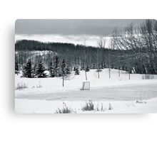 Black and White Pond Hockey Canvas Print