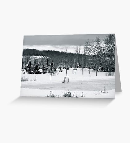 Black and White Pond Hockey Greeting Card