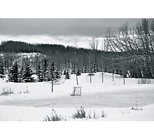 Black and White Pond Hockey Photographic Print