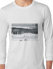 Black and White Pond Hockey Long Sleeve T-Shirt